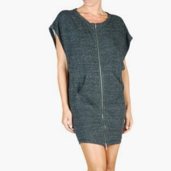 Diesel Dresses & Skirts - DIESEL sweatshirt dress speckled gray zipper sport
